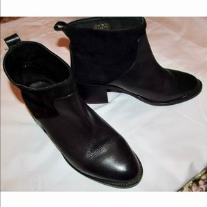 TOPSHOP ankle suede / leather metal cap toe boots